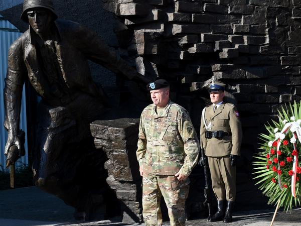 Lt. Gen. Ben Hodges, then the Army commander in Europe, stands after laying a wreath at the Warsaw Uprising Monument in Warsaw, Poland, on the eve of Armed Forces Day in August 2017. The U.S. Army Europe opened new headquarters in Poland in May 2017.