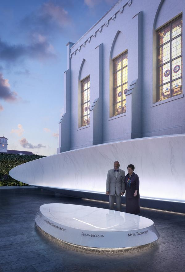 An architectural rendering shows the fountain and one of the stone benches featured in a proposed memorial for Emanuel AME Church in Charleston, S.C.