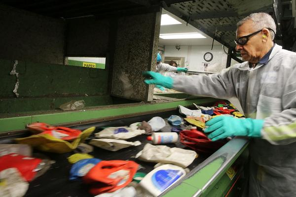 Recycling is sorted at a municipal recycling facility in New York City. (Spencer Platt/Getty Images)