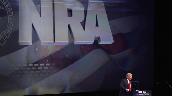 Then-Republican presidential candidate Donald Trump speaks at the NRA Convention in May 2016 in Kentucky.