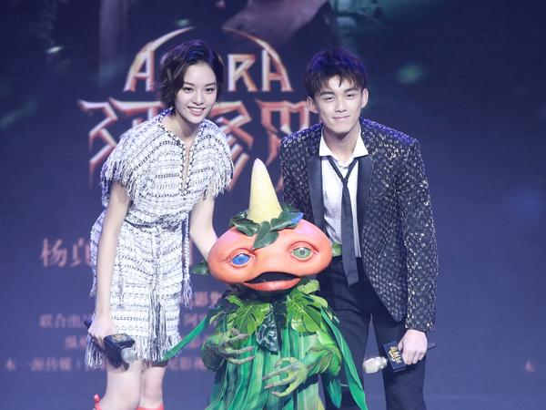 Actor Wu Lei and actress Zhang Yishang attend a media conference for the film <em>Asura</em> in January in Beijing.