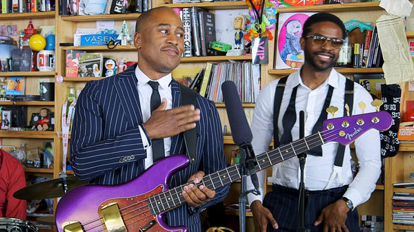 The Midnight Hour (Ali Shaheed Muhammad & Adrian Younge) performs a Tiny Desk Concert on June 18, 2018 (Morgan Noelle Smith/NPR).