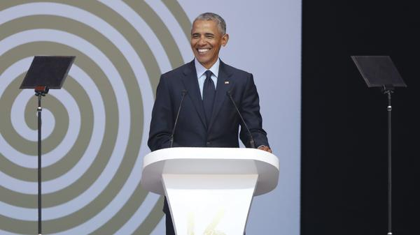 """I believe we have no choice but to move forward; that those of us who believe in democracy and civil rights and a common humanity have a better story to tell."" former President Obama said in Johannesburg on Tuesday."