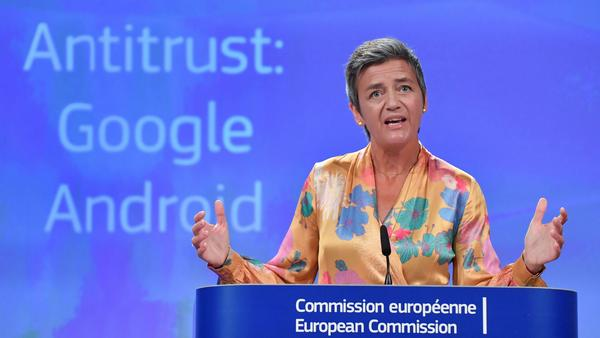 European Union Competition Commissioner Margrethe Vestager held a joint news conference at EU headquarters in Brussels on Wednesday after slapping a record $5 billion antitrust penalty on the U.S. tech giant.