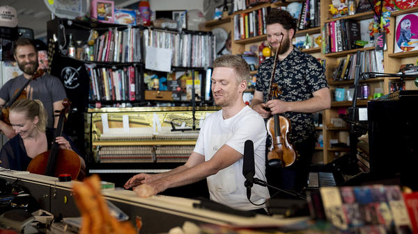Ólafur Arnalds performs a Tiny Desk Concert on July 3, 2018 (Eric Lee/NPR).