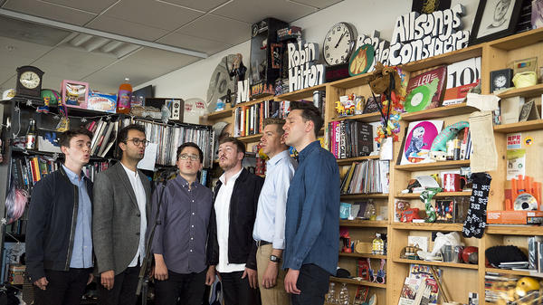 The King's Singers perform a Tiny Desk Concert on April 19, 2018 (Eslah Attar/NPR).