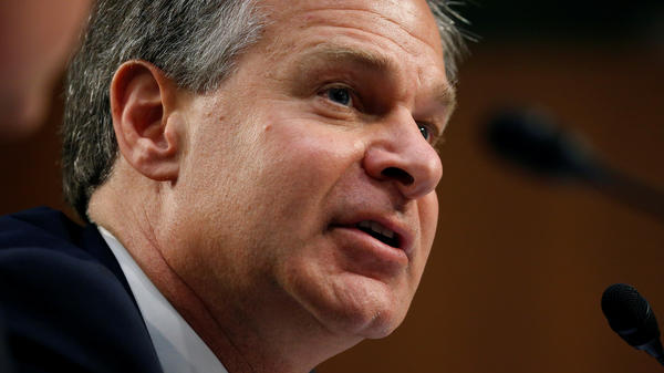 FBI Director Christopher Wray testifies on Capitol Hill on June 18.