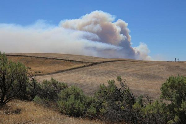 <p>Smoke from the Substation Fire rises over the hills near Moro, Oregon, Wednesday, July 18, 2018.</p>