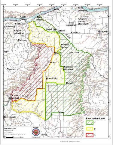 <p>A map of evacuation zones due to the Substation Fire as of 9 a.m. Wednesday, July 18, 2018.</p>