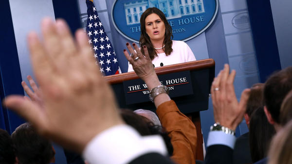 In the White House briefing room, Sarah Sanders often moves quickly from one news outlet to the next, cutting off follow-up questions and ending press conferences with many reporters' questions unanswered.