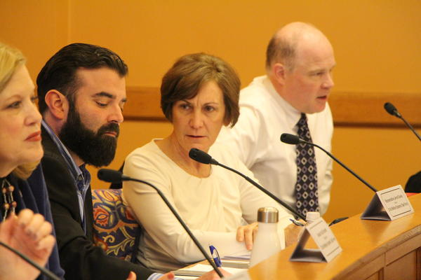 Republican state Sen. Barbara Bollier, seated with the Kansas Legislature's Child Welfare System Task Force, has been removed as vice chair of the Public Health and Welfare Committee for endorsing Democrats in state and federal races.