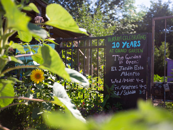 Girard Children's Community Garden will be celebrating 10 years this year. The garden signs are in both English and Spanish to welcome Spanish-speaking kids.