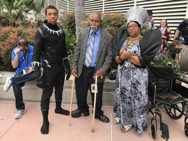 Myin Jones and his parents as the Black Panther, King T'Chaka and Queen Ramonda.