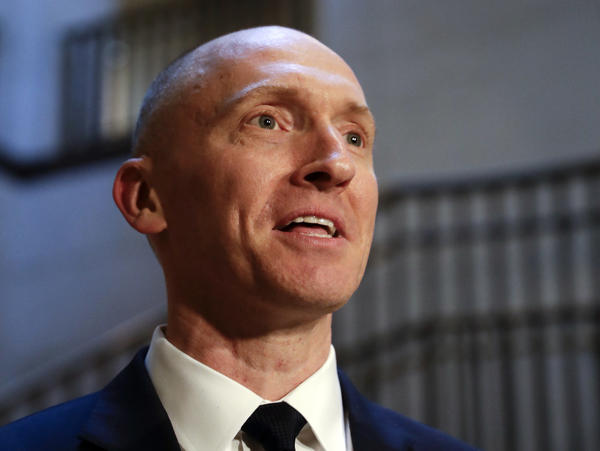 Carter Page speaks with reporters in November 2017 following a day of questions from the House intelligence committee on Capitol Hill in Washington.