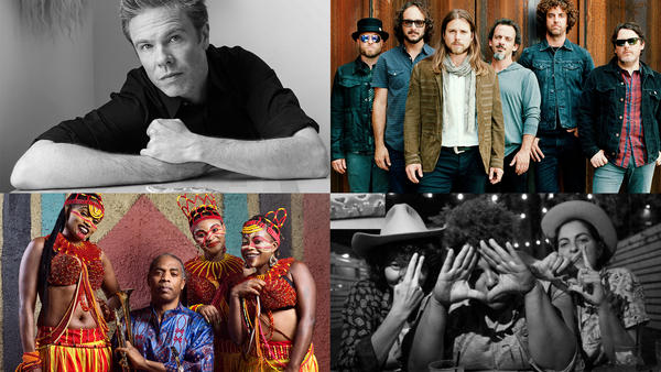Josh Ritter (top left, credit: Laura Wilson), Lukas Nelson & The Promise Of The Real (top right, credit: Jacob Blickenstaff), Femi Kuti & The Positive Force (bottom left, credit: Optimus Danny), Bermuda Triangle (bottom right, credit: Harvey Hale)