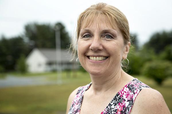 Brenda Anderson, administrative assistant for the police department in Orange. (Robin Lubbock/WBUR)