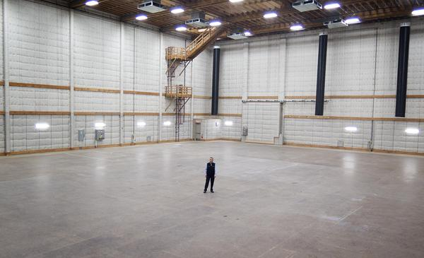 General Manager Gary Crossen in the middle of a sound stage at New England Studios, in Devens. (Andrea Shea/WBUR)