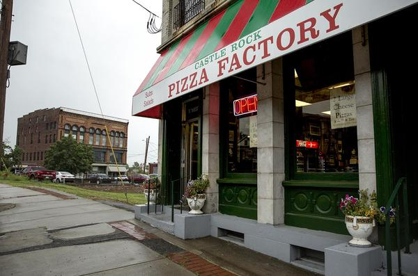 """Months after filming wrapped up in Orange, you can still buy pizza in the """"Castle Rock Pizza Factory."""" (Robin Lubbock/WBUR)"""