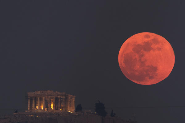 The moon is expected to appear red or orange, as it did during the lunar eclipse in January.