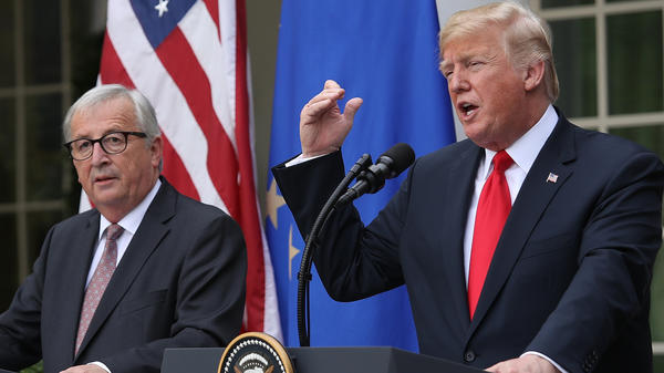 President Donald Trump and European Commission President Jean-Claude Juncker  deliver a joint statement on trade in the Rose Garden of the White House Wednesday in Washington, D.C.