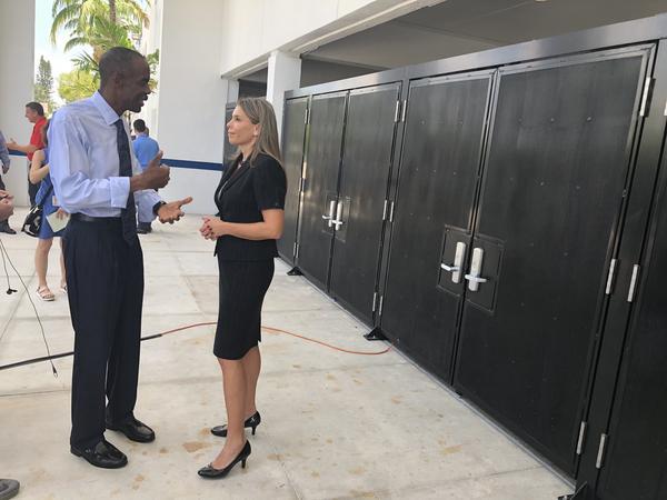 Broward schools Superintendent Robert Runcie and  School Board Member Donna Korn talk in front of the new entrance at Miramar High School on Wednesday.