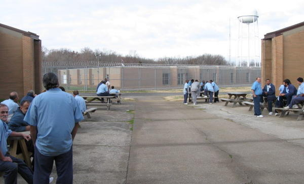 Inmates congregate on the Unit 3 patio at Vienna Correctional Center.