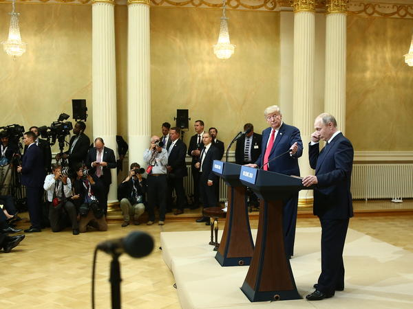 President Trump held a joint news conference with Russia's President Vladimir Putin in Helsinki on July 16.