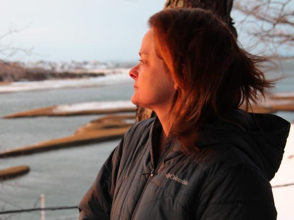 Laura Crook is pictured outside her home in Gloucester, Mass., last fall. She was in her 20s when she performed in Israel Horovitz's 1990 production of <em>Strong-Man's Weak Child</em>. Crook is one of six women who accused Horovitz of sexual misconduct in 1993.