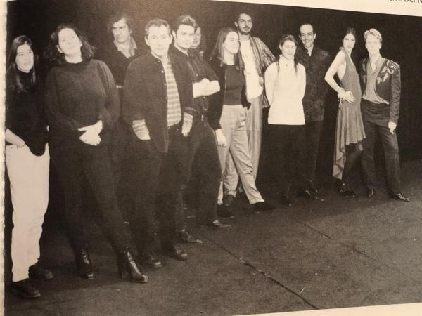 Jana Mestecky (left) poses for a cast photo during production of the play <em>Des rats et des hommes</em>, directed by Israel Horovitz (front, third from left). The photo appeared in the French magazine, <em>L'Avant-Scène,</em> in 1994.