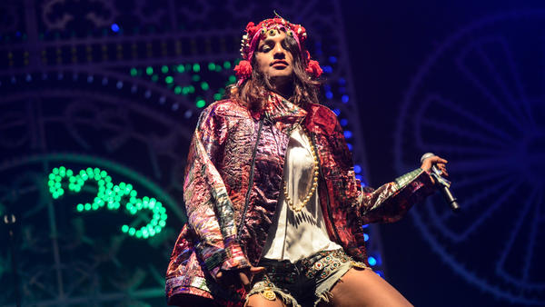 M.I.A performs at Day 1 of Bestival at Robin Hill Country Park in Newport, Isle of Wight in September 2013.