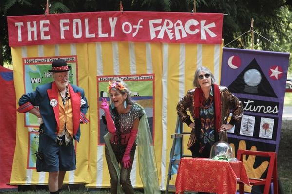 """<p>Jim Plunkett, Jan Zuckerman, and Bonnie McKinlay (left to right) perform in an original skit titled """"The Folly of Frack"""".</p>"""