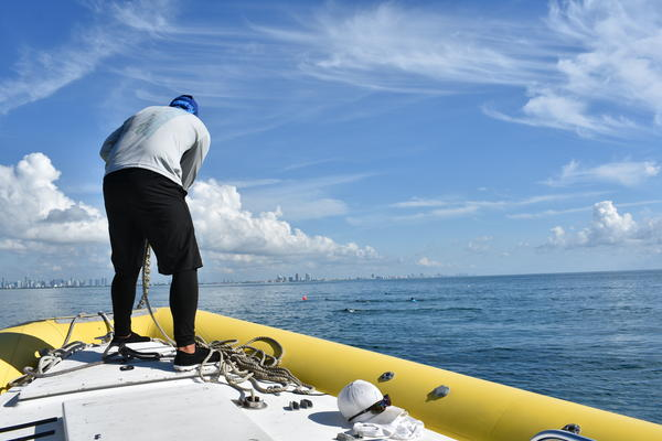 Frank Castillo, a first mate at Biscayne National Park Institute, drops an anchor into the bay at the first stop of the expedition.