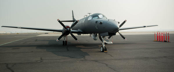 The Washington Air National Guard RC-26 sits at Medford Airport last September before taking off to map the Chetco Bar fire in southwest Oregon.
