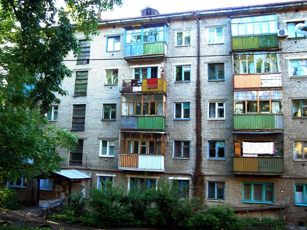 The exterior of Khrushchev-era apartments in Kazan, Russia.