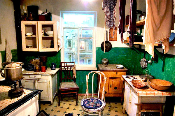 A typical Russian kitchen inside an apartment built during the early 1960s, when Nikita Khrushchev led the Soviet Union — what later became known as Khrushchev apartments.