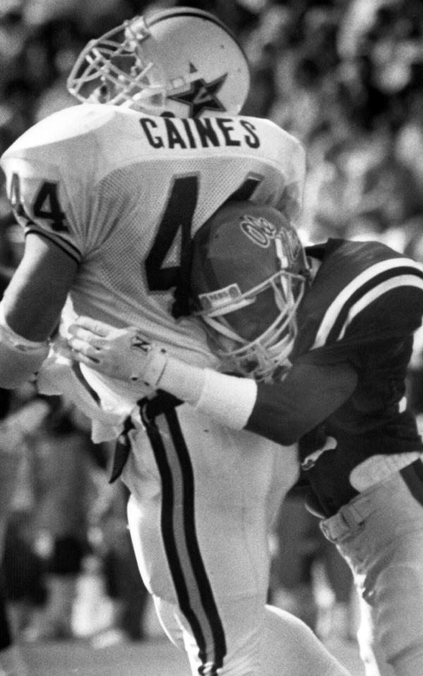 """Mississippi defensive back Roy Lee """"Chucky"""" Mullins tackled Vanderbilt fullback Brad Gaines on Oct. 28, 1989. The tackle paralyzed Mullins from the neck down. He died two years later."""