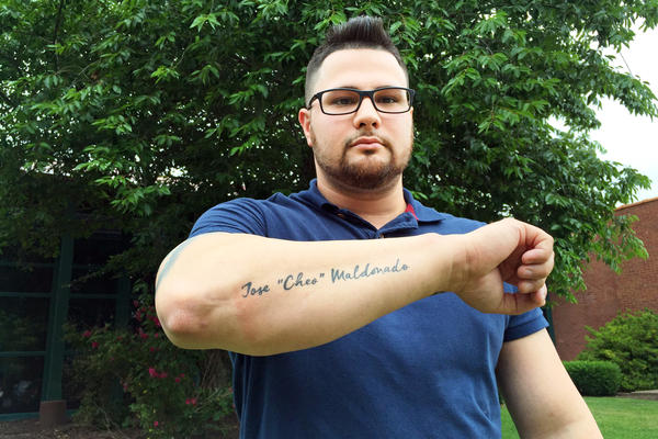 """Wilson Ramos got a tattoo of his brother's name, Jose """"Cheo"""" Maldonado, inked on his right forearm in memory of Maldonado, who died after a police officer shot him with a stun gun inside a jail cell in East Hartford, Conn."""