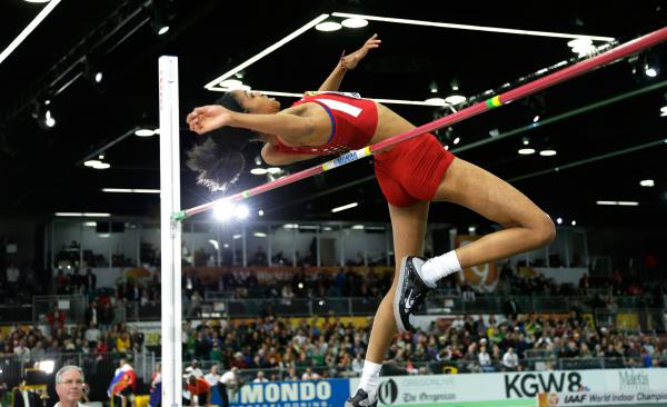 Vashti Cunningham won the women's high jump final during the world indoor championship in Portland, Ore., on March 20.