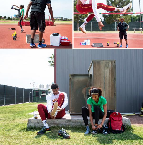 (Top left) Vashti Cunningham warms up as father Randall Cunningham prepares for practice at the University of Nevada Las Vegas' Sheila Tarr Track. (Top right) Randall Cunningham watches son Randall Cunningham Jr. practice the high jump. (Bottom) Siblings Randall and Vashti Cunningham lace up prior to practice with their father.
