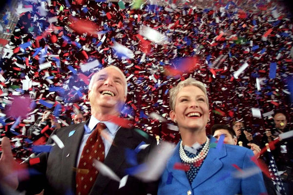 McCain and his wife, Cindy, on the presidential campaign trail in Peterborough, N.H., in 2000. McCain nearly swiped the nomination, trouncing George W. Bush in the New Hampshire primary.
