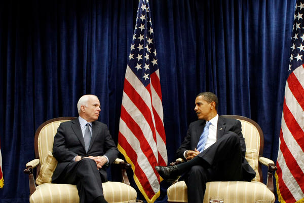 McCain meets with President-elect Barack Obama in November 2008. McCain showed tremendous grace in defeat, praising Obama and focusing the country on the historic nature of his candidacy.