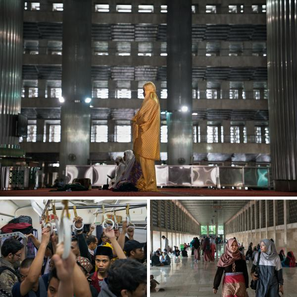Top: People worship at noon prayers at Jakarta's Istiqlal mosque, the largest mosque in Southeast Asia. Left: A crowded Jakarta commuter line train. Right: Women walk through Istiqlal mosque.