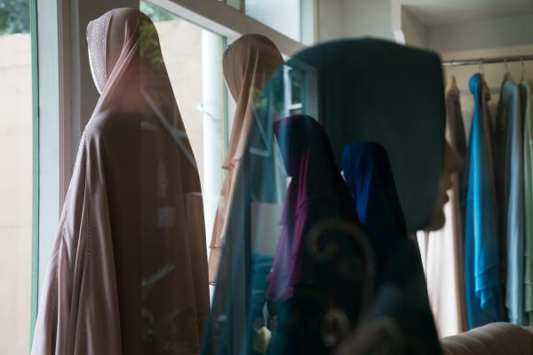 Jakarta's Si.Se.Sa. boutique sells hijabs that are brightly colored and decorated with crystals and pleating.