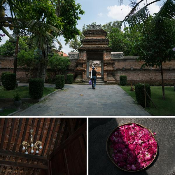 Top: Wahjudi Djaja walks toward the Kejawen cemetery in Yogyakarta to pray. Left: A chandelier hangs at the Kejawen cemetery. Right: Flowers are an important part of prayer rituals in Kejawen, a traditional Javanese religion.