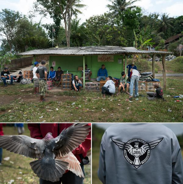 Pigeon racers gather on a Friday to practice racing their birds in Borobudur, Indonesia. Some of the men are a part of the Lapak Netral racing club.