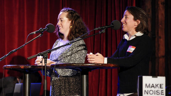Contestants Meghan Ballback and Adrian Brune compete on NPR's Ask Me Another at The Bell House in Brooklyn, New York.