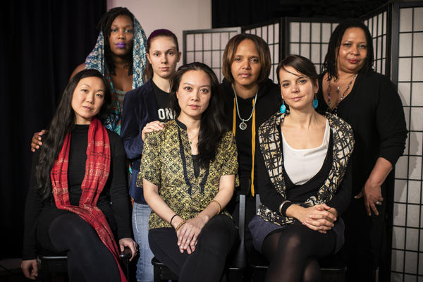 Some of the members of the We Have Voice Collective, the authors of a new code of conduct for preventing harassment in performing arts spaces. Front row, seated (left to right): Linda May Han Oh, Jen Shyu, Sara Serpa. Back row, standing (left to right): Imani Uzuri, María Grand, Terri Lyne Carrington, Fay Victor.