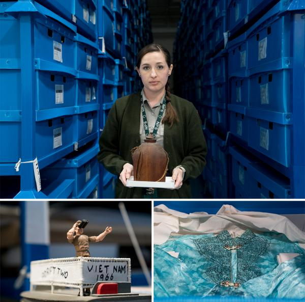 (Above) Janet Folkerts, curator for the Vietnam Veterans Memorial museum collection, holds a container of unidentified cremains at the Museum Resource Center in Landover, Md. (Below) A 3-foot-tall model of a U.S. watercraft (left) and a traditional Vietnamese dress are among the artifacts left at the wall that have become part of the permanent collection.