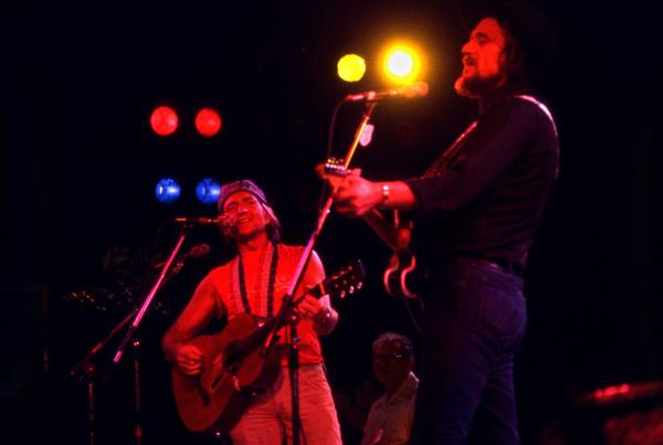 Willie Nelson (left) and Waylon Jennings perform at Nelson's Fourth of July Picnic in 1978.