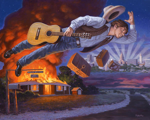 """Willie's Fire,"" an illustration by Sam Yeats made for the Country Music Hall of Fame and Museum's ""Outlaws & Armadillos: Country's Roaring '70s"" exhibition."